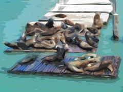 Sea Lions at Pier 39 (Steve Taylor (Photography)) Tags: sealion pier39 pontoons dock marina animal mammal art abstract digital impressionist brown blue teal white mauve sanfrancisco usa kdock wharf floats seal