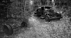 Becket Historic Quarry, Ma (mcleod.robbie) Tags: historic furnancefashionedphotography black white truck automotive moody