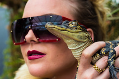 Crocodile view (Bert de Bruin) Tags: crocodile view class beauty beautylooks glasses mica flash woman wish glamour blond style