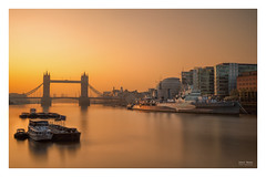 Tower Bridge & HMS Belfast - Thames Sunrise (Geoff Moore UK) Tags: yellow river bridge ship military towerbridge thames london city gaurd watch