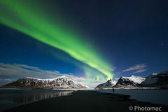 like a laser beam (macgio73) Tags: norway lofoten laser green nightscapes auroraborealis beam