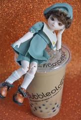 Bubbletea boy (Lorena Firefly) Tags: bjd balljointeddoll boy bokeh doll dollfie yosd bluefairy tiny bubbletea bubbleology bobatea