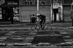 On the street (Jaime Recabal) Tags: canon 40d recabal santiago chile avelibertadorbernardoohiggins monochrome blancoynegro blackandwhite bicycle bicicletas