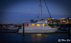 Sleepless (Morkos Salama) Tags: sleep boat night time blue dusk sunset water river hudson yellow light harbor pier dock
