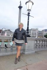 London 28th June 2017 (Victoria HS) Tags: tgirl tgurl tv cd tg transvestite crossdresser transgender blonde wig leather jacket denim skirt ankle boots hot sexy horny available needy loving adorable