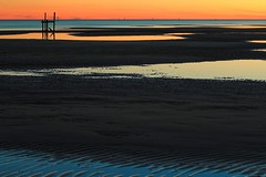 """fire turns to water (listening to """"god bless the girl"""", david bowie) (haint_blue) Tags: natural nature coastal blue orange sunset minimal simple le longexposure broken pier tidalpool lowtide sand shore beach waterscape seascape sea ocean passchristian mississippisound mississippi canon"""
