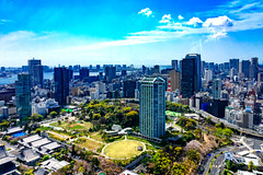 View Tokyo Bay from Tokyo Tower Observatory : 東京タワー大展望台よりお台場方面のの展望 (Dakiny) Tags: 2017 spring april japan tokyo minato minatoward park garden shibapark city street outdoor landscape horizon skyline building blue sky nikon d7000 sigma 1770mm f284 dc os hsm sigma1770mmf284dcmacrooshsm nikonclubit