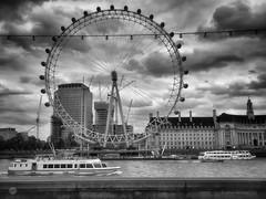 Dystopian Eye (pdascombe) Tags: 365 blackandwhite london londoneye thames