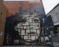 Framed (J-C-M) Tags: street wall art streetart wallart paint painting portrait face victoria australia graffiti grafitti melbourne jinks skr3am redlight studio artists artistic frames artwork theredlightstudiocom