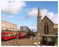 Felthams passing St Judes (Colour) (kingsway john) Tags: london transport model trams feltham ucc layout 176 scale oogauge kingsway modls sjc card kits shelter holden lt bus stop miniature