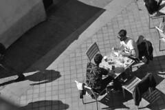 Quick Bite to Eat, South Bank (James Mans) Tags: d5000 nikon southbank blackandwhite street photography london england cafe people monochrome sunshine eating outdoors