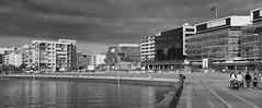 Waterfront promenading (OzzRod) Tags: pentax k1 tair11a135mmf28 таир11а stitch panorama monochrome blackandwhite harbour waterfront recreation promenading honeysuckle newcastle renewal dailyinmay2017