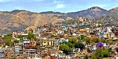 Hills of Guanajuato , MX (Rnoltenius) Tags: guanajuato hills houses colorsmountains panorama mexico awesome splendid church jacaranda trees purple