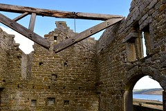 Collapsed Roof Truss. (rustyruth1959) Tags: nikon nikond3200 tamron16300mm yorkshire calderdale withensclough withenscloughreservoir rooftruss collapsedrooftruss beam wood ruin farm abandoned wall arch nails reddykefarm room sky windows lintel abandonedbuilding moorland moors rot decay rotten rottenwood collapse old isolated desolate dangerous reservoir water outdoor indoor stone