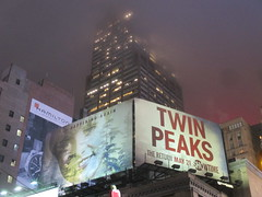 Twin Peaks Billboard Times Square 2017 Foggy Night NYC 4848 (Brechtbug) Tags: twin peaks the return billboard poster ad laura palmer sheryl lee fbi agent dale cooper kyle maclachlan mystery 90s show showtime type mysterious bird birds owl owls may 05212017 9pm 2017 nyc broadway 50th st near times square midtown manhattan street new york city streets 04272017 hazy fog foggy night nite