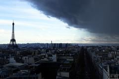 Bon Chance, France (diesmali) Tags: paris îledefrance france eiffeltower tourdeiffel city dark cloud stormfront streets elevatedviewpoint rain blue sky canoneos6d canonef24105mmf4lisusm