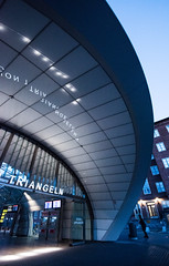 Station Triangeln (nesnetsirhc) Tags: architecture subway urban train traffic city malmo sweden lines structure blue bluehour sunset nikon nikond810 nikonphotography triangles shapes curves escalator longexposure night light
