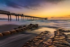 La Jolla sunset with a high tide (binzhongli) Tags: sea ocean sunset sky clouds dusk landscape seascape california beach lajolla sandiego pier scrippspier rock