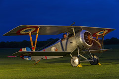 Nieuport 17 (Kev Gregory (General)) Tags: ieuport 17 no n1977carries out an engine ground run during timeline events sunset night shoot stow maries great war aerodrome near maldon essex world one wwi raf rfc royal flying corp air force sqn squadron biplane aircraft aeroplane historic kev gregory canon 7d corps
