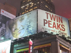 Twin Peaks Billboard Times Square 2017 Foggy Night NYC 4849 (Brechtbug) Tags: twin peaks the return billboard poster ad laura palmer sheryl lee fbi agent dale cooper kyle maclachlan mystery 90s show showtime type mysterious bird birds owl owls may 05212017 9pm 2017 nyc broadway 50th st near times square midtown manhattan street new york city streets 04272017 hazy fog foggy night nite