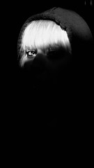 Perception. (AloysiaVanTodd) Tags: portrait urbex explore sensitivity expressive bnw bw blackandwhite blackeyes light sunlight woman girl skinhead look eye dismal dark pr0jectuno
