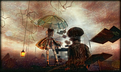"""It's a lovely view"" (kharis.adrasteia) Tags: stars end world constellations watchers travel observe reboot space change shift fantasy magic cosmic umbrella burst shashi erebos sl"