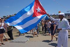Cuba comes to Jazz Fest (lucymagoo_images) Tags: sony rx100 new orleans louisiana nola cuba jazz fest jazzfest cuban flag people man parade