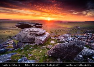 UK - England - Cornwall - Bodmin Moor - Cheesewring at Dramatic Sunset
