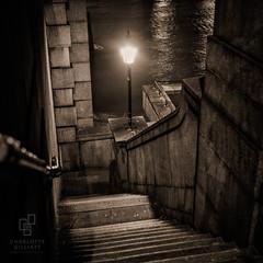 River Steps (www.charlottegilliatt.com) Tags: film agfaisolette ilforddelta400 toned london night gaslight lamps steps descent
