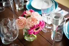 Dinner With Friends (Phillip Waller) Tags: superior alt flower tablesetting casual dinner potluck ideas placesetting ikea fresh blueplate contrast woodtable