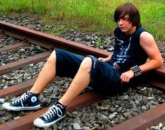 Waitin For a Train 8 (collaredinboots1) Tags: cute skater converse converseallstarhigh chucks wristband