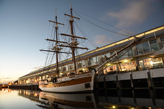 Lady Nelson in the Morning (zenseas) Tags: hobart tasmania australia morning early dock sullivanscove holiday vacation south southern southernhemisphere boat boats ship sailboat sunrise beautiful beautifulstarttotheday somersetonthepier pier reflections reflect reflected mirror