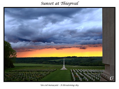Sunset at thiepal (Fab_80) Tags: thiepval ciel sunset coucherdesoleil somme picardie hautdefrance remember remebrance souvenir 1916 cwgc canon cemetery firstworldwar militarycemetery paysage picardy the wargrave worldwarone wwi burningsky