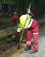 Phillip -Stepney Green road sweeper. Here I captured him pulling weeds. (Carol B London) Tags: veoila towerhamlets lbth roadsweeper streetcleaner stepney stepneygreen e1 londone1 phillip