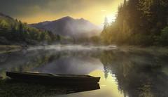Le temps d'un rêve ... (Dreamland ☺) (Mathulak) Tags: ps photoshop artwork mathulak river mountain boat