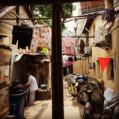 Now: Life in the old town 3. Due to  over-crowding, private life is forced to become public. Here an elderly man does his toilet in full few of passerby. 20170521. #city #asia #china #shanghai #architecture #backlane #laundry #old town #laundry #urban #re (zeoger) Tags: bamboo laundry backlane residential oldman oldtown shanghai china asia architecture city instagramapp square squareformat iphoneography hefe