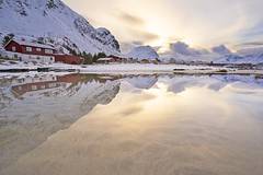 The reflection (jacklin_64) Tags: ramberg lofoten norway north winter mirror beach sunset mountain a7
