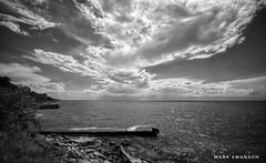 Shoreline (mswan777) Tags: shore coast bluff water waves lake michigan sky cloud scenic seascape st joseph landscape expanse nikon d5100 monochrome black white sigma 1020mm breakwall rock