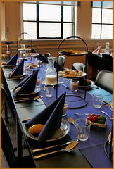 Royal blue Lunch . . . (Jocawe) Tags: lumixdmclx100 availablelight lunch blue orange