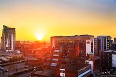 Sunrise in MCR City Center (Zakapi0r) Tags: manchester manchestercitycenter city center england anglia uk great britain europe europa north west sunrise sunlight direct colours colourful sky cityscape landscape april 2017 wideangle canon eos 5 5d mark2 markii mk2 mkii tamron di 2875 f28 mrzphotography