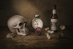 All Good Things Come to an End (Petri Damstén) Tags: withered nikkor godox d800 fi gothicart death dslr clock rose manfrotto beer homestudio red suomi nikon studio 32 org 2470mmf28 dark skull leaves zoom stilllife bottle kuopio