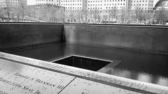 The 9/11 Memorial site in Manhattan NYC.