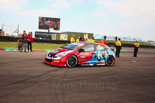 Jack Goff on the grid at the Thruxton BTCC weekend, May 2017