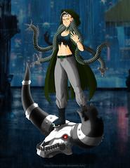 Cyberpunk Gorgon (Polux McLion) Tags: digitalillustration digitalpainting illustration ottooctavius prosthesis prosthetics roleplay roleplaycharacter roleplaying coat cyberpunk digitalart green minotaur tentacles cyberpunkgirl