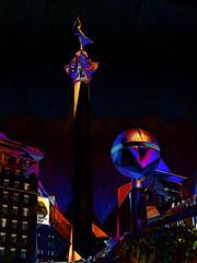 Awakening the Night (Steve Taylor (Photography)) Tags: deweymonumentinunionsquarehedewey sanfrancisco california sphere art digital building contrast night