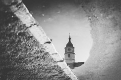 After the Rain (freyavev) Tags: sahatkula clock tower reflection reflections puddle rain water kalemegdan fortress belgrade beograd serbia srbija vsco canon canon700d blackandwhite bw