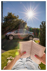 A Lazy Summer Day in the UK. (stblackburn) Tags: sunburst summer hot book lazy relaxing uk peugot 207cc car