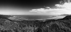 cayton panorama (#christopher#) Tags: monochrome landscape seascape sea ocean northsea sky beach coast seaside trees woodland caytonbay panorama 4shots stitched
