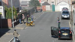 Spoiler alert... Casualty scene shot at Port Talbot (Tyrone Williams) Tags: casualty bbc wales filming scene explosion fire paramedic series film 7d 24105l canon blast fireball porttalbot