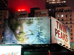 Twin Peaks Billboard Times Square 2017 Foggy Night NYC 4866 (Brechtbug) Tags: twin peaks the return billboard poster ad laura palmer sheryl lee fbi agent dale cooper kyle maclachlan mystery 90s show showtime type mysterious bird birds owl owls may 05212017 9pm 2017 nyc broadway 50th st near times square midtown manhattan street new york city streets 04272017 hazy fog foggy night nite